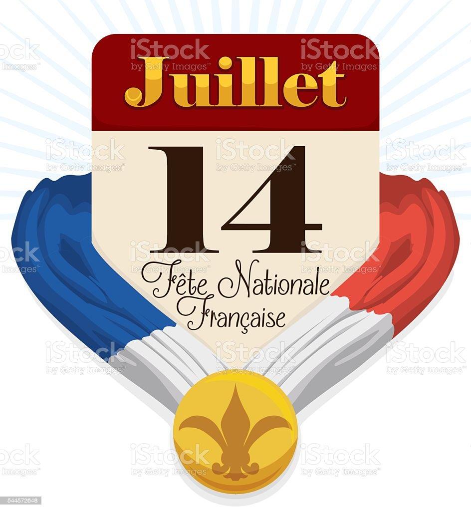 Loose-leaf Calendar with French Color's and Medal for Bastille Day vector art illustration