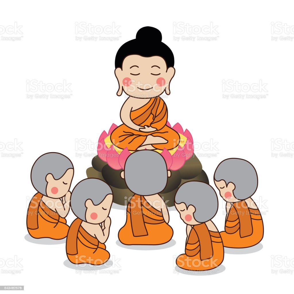 Lord Buddha's first sermon surrounded by the first five disciples. vector art illustration