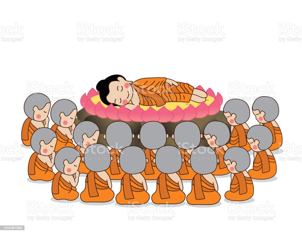 Lord Buddha's nirvana surrounded by monks vector illustration. vector art illustration