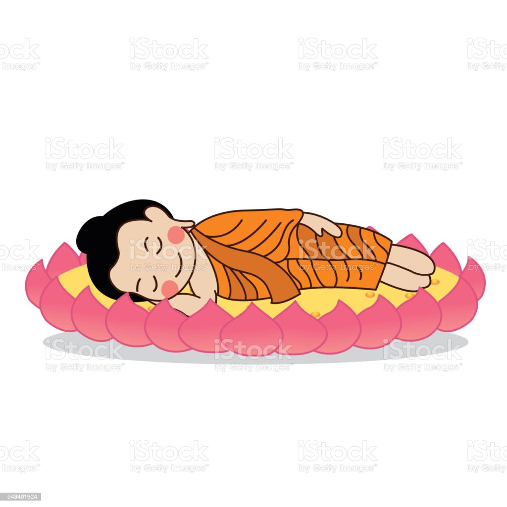 Lord Buddha's nirvana vector illustration. vector art illustration