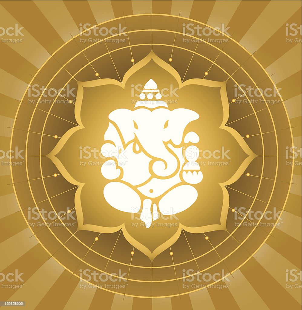 Lord Ganesha On Lotus Background royalty-free stock vector art