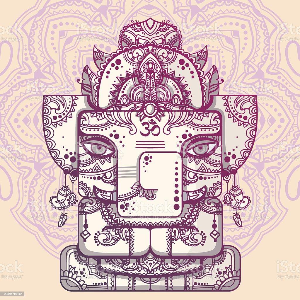 Lord Ganesha. Vector illustration of indian god of wisdom and prosperity vector art illustration