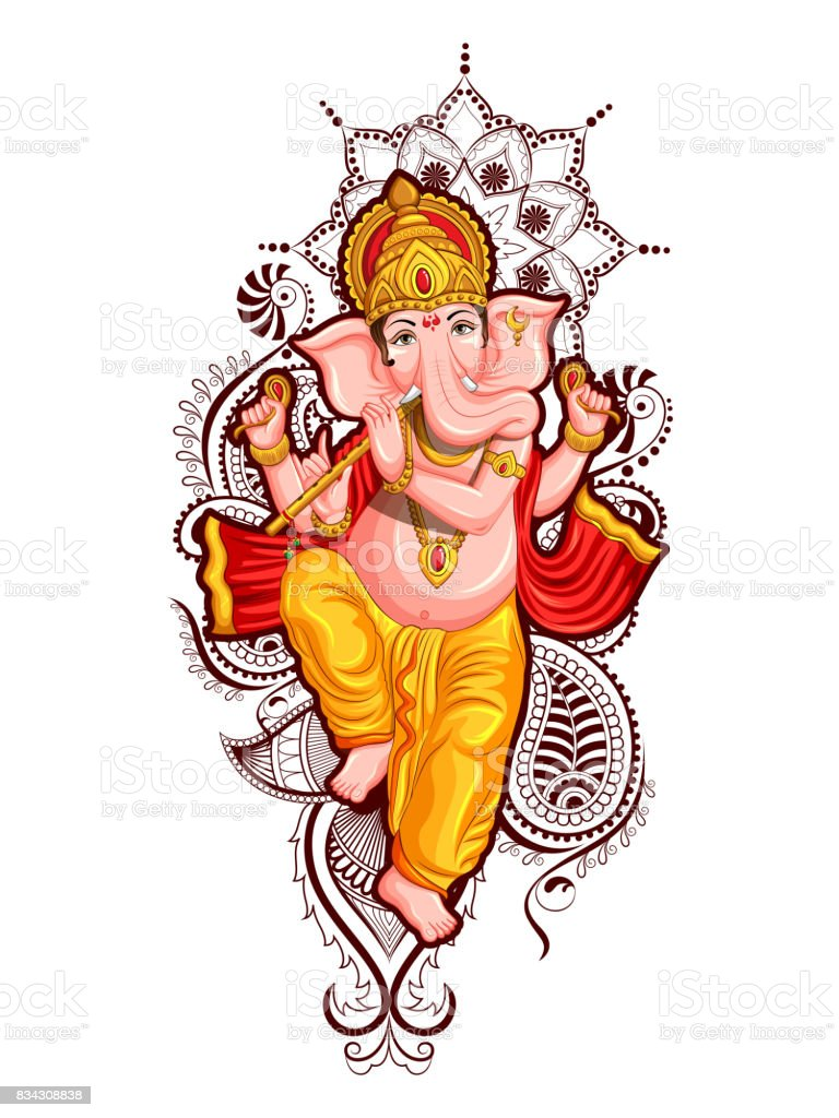 Lord Ganpati background for Ganesh Chaturthi vector art illustration