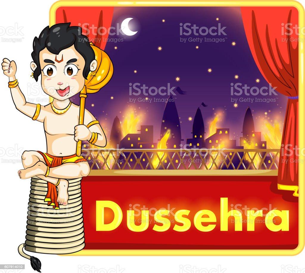 Lord Hanuman burning Lanka with fire on his tail vector art illustration