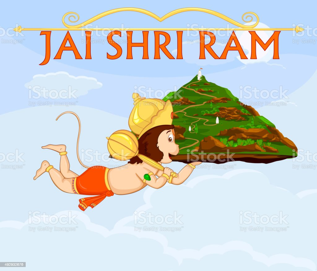 Lord Hanuman flying with gandamadana parvatham vector art illustration