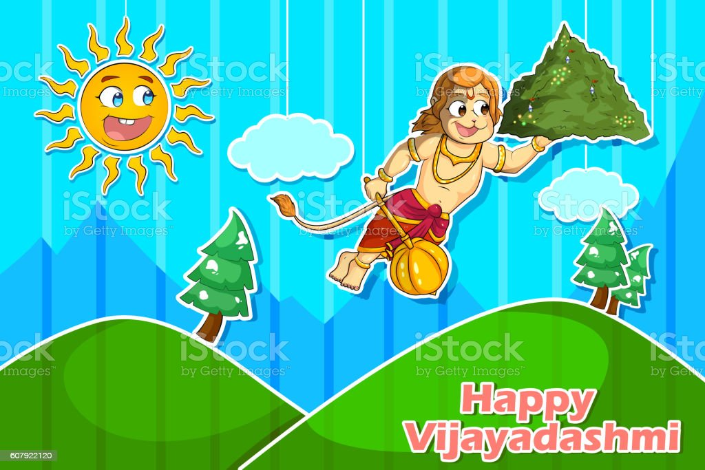 Lord Hanuman flying with Gandamadana parvatham vector art illustration