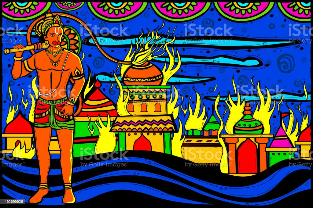Lord Hanuman Lanka Dahan vector art illustration