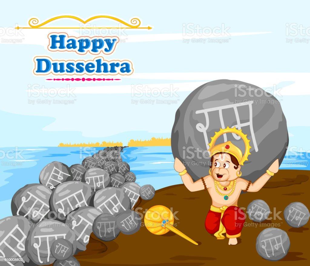 Lord Hanuman lifting stone with Rama name vector art illustration