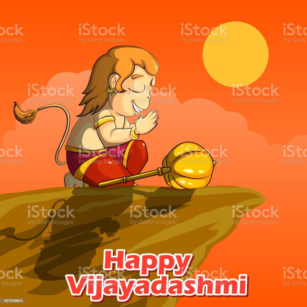 Lord Hanuman praying for Rama in Happy Dussehra background vector art illustration