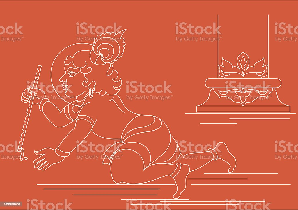Lord Krishna with Flute royalty-free stock vector art