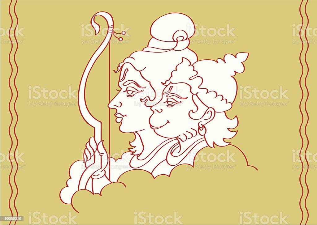 Lord Ram and Hanuman vector art illustration