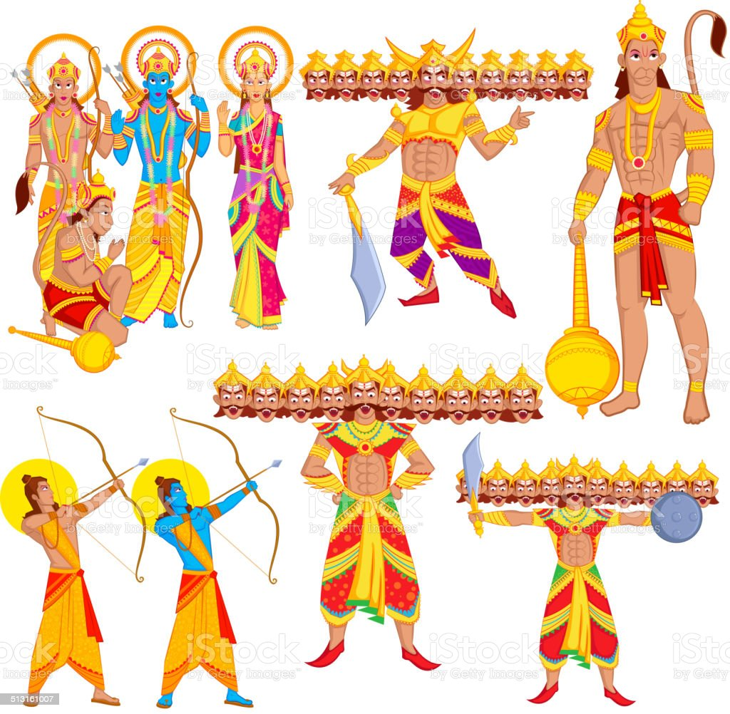 Lord Rama, Laxmana, Sita with Hanuman vector art illustration