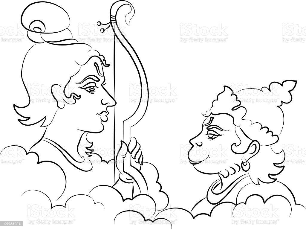 Lord Rama the Hindu God with Hanuman vector art illustration