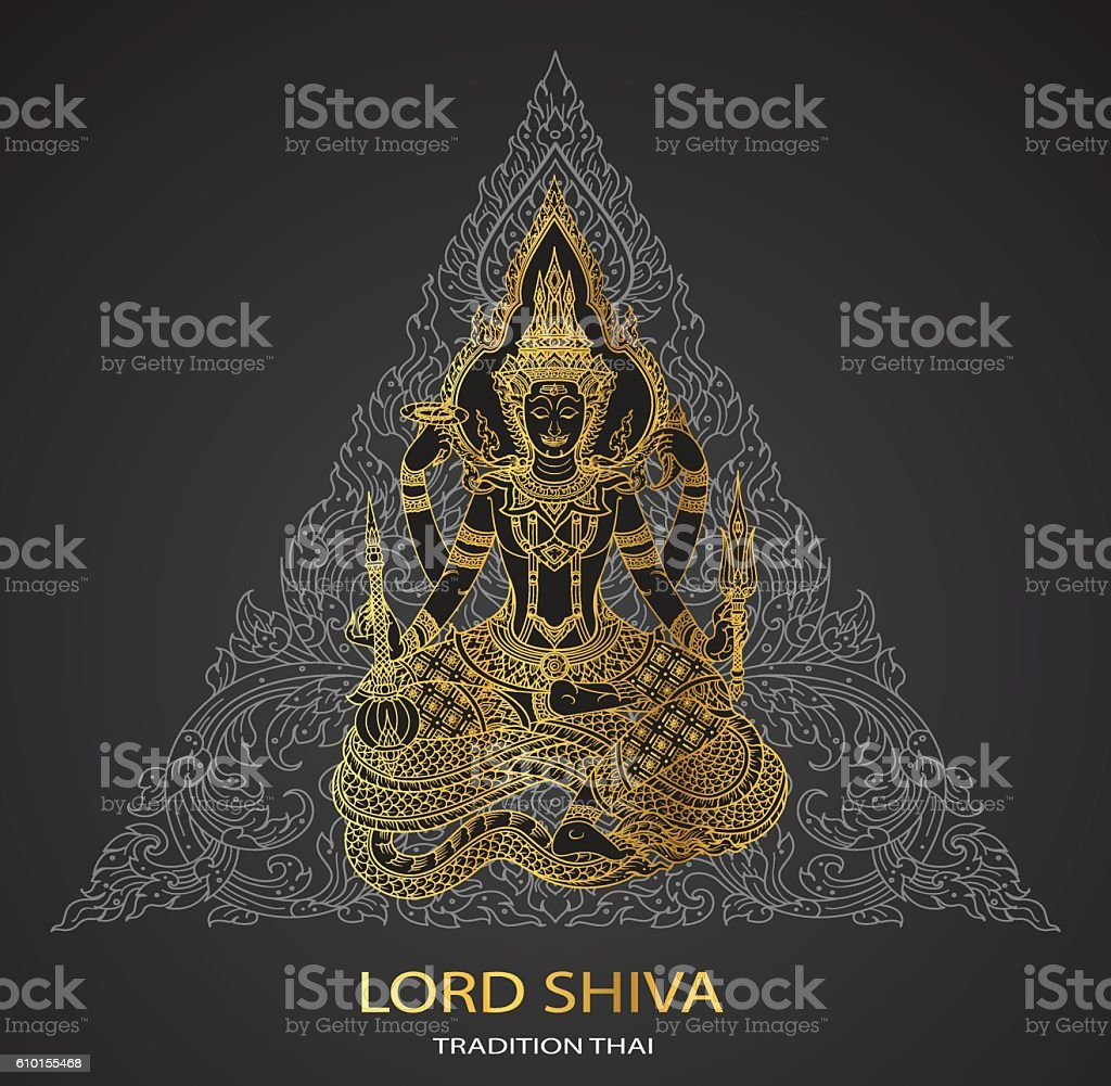 Lord Shiva on triangle background shape vector art illustration