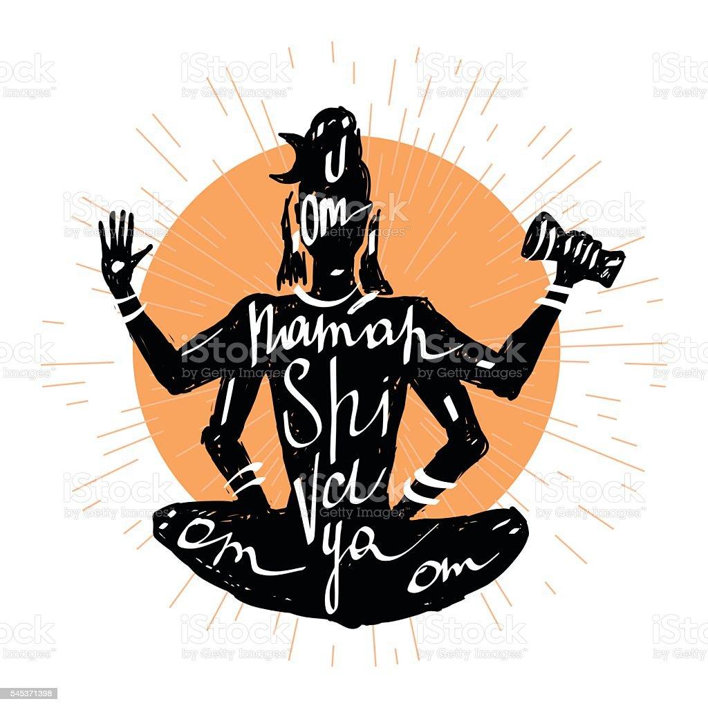 Lord Shiva. Typography poster vector art illustration
