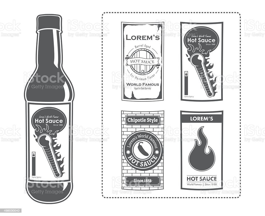 Lorem's Hot Sauce Bottle with Labels vector art illustration