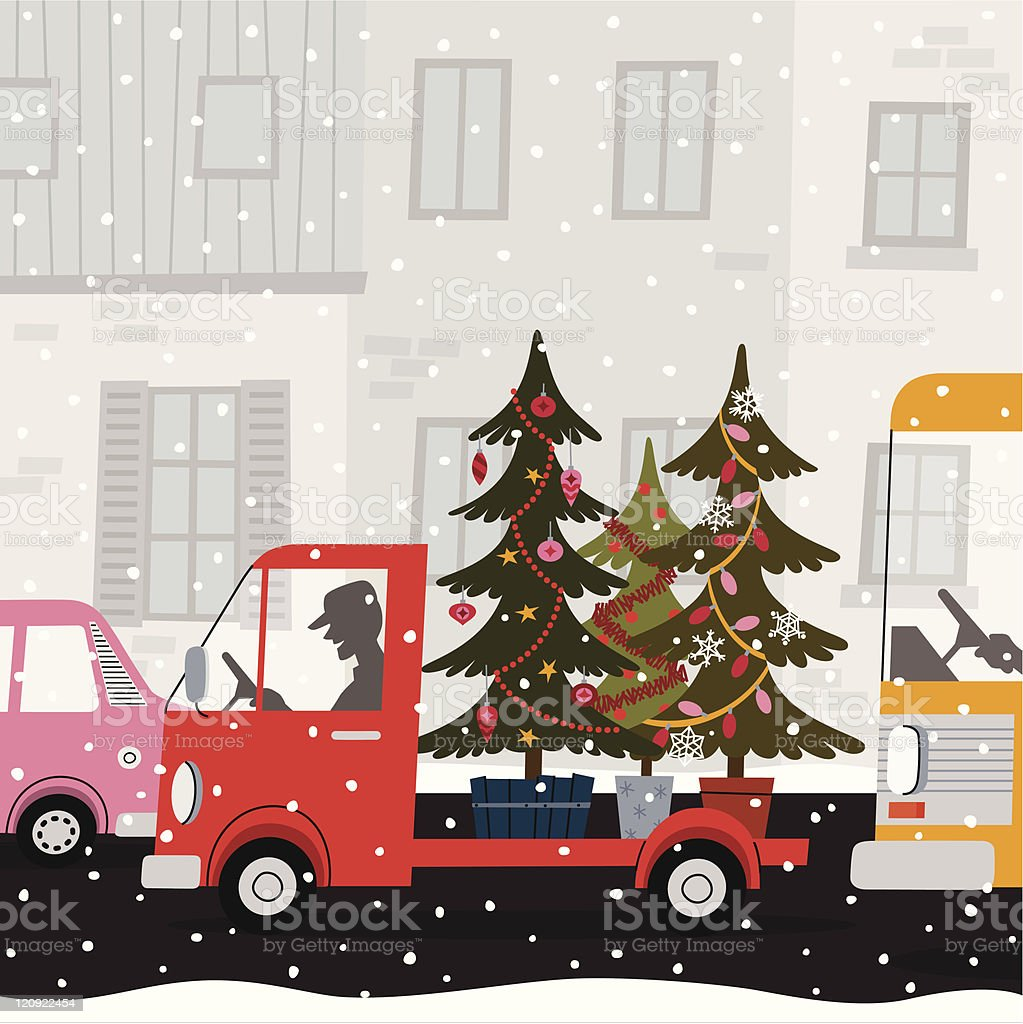 Lorry and Fir Tree. vector art illustration