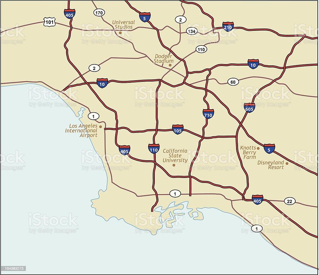 Los Angeles California Map vector art illustration