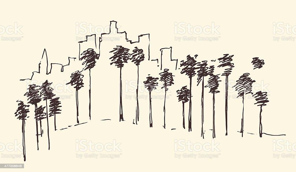 Los Angeles, California, Skyline Engraved Sketch vector art illustration