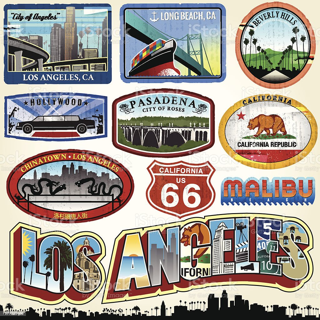 Los Angeles - City of Angels vector art illustration