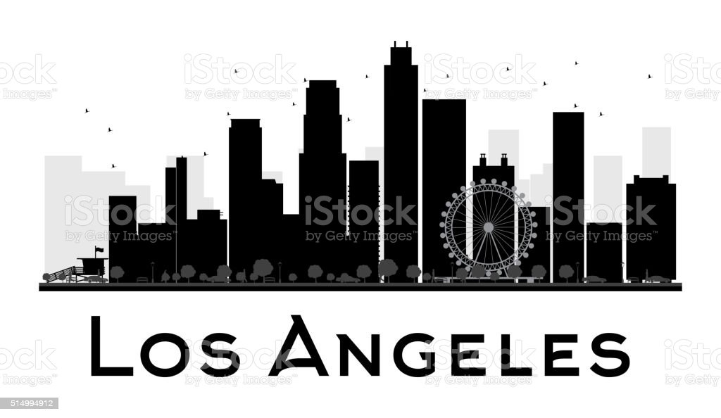 Los Angeles City skyline black and white silhouette vector art illustration