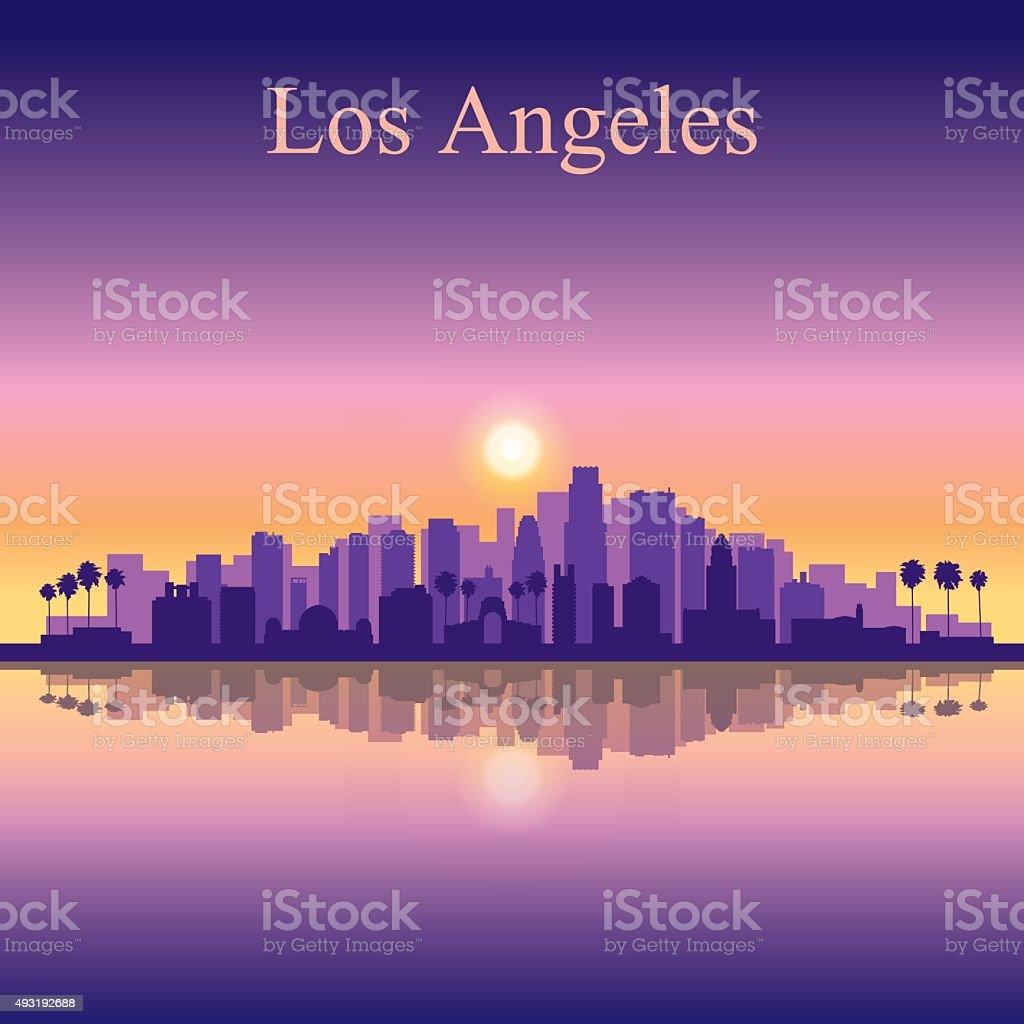 Los Angeles city skyline silhouette background vector art illustration