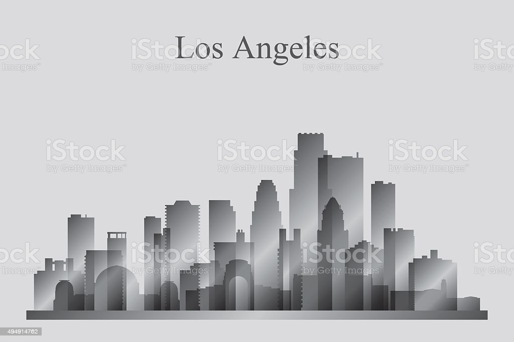 Los Angeles city skyline silhouette in grayscale vector art illustration