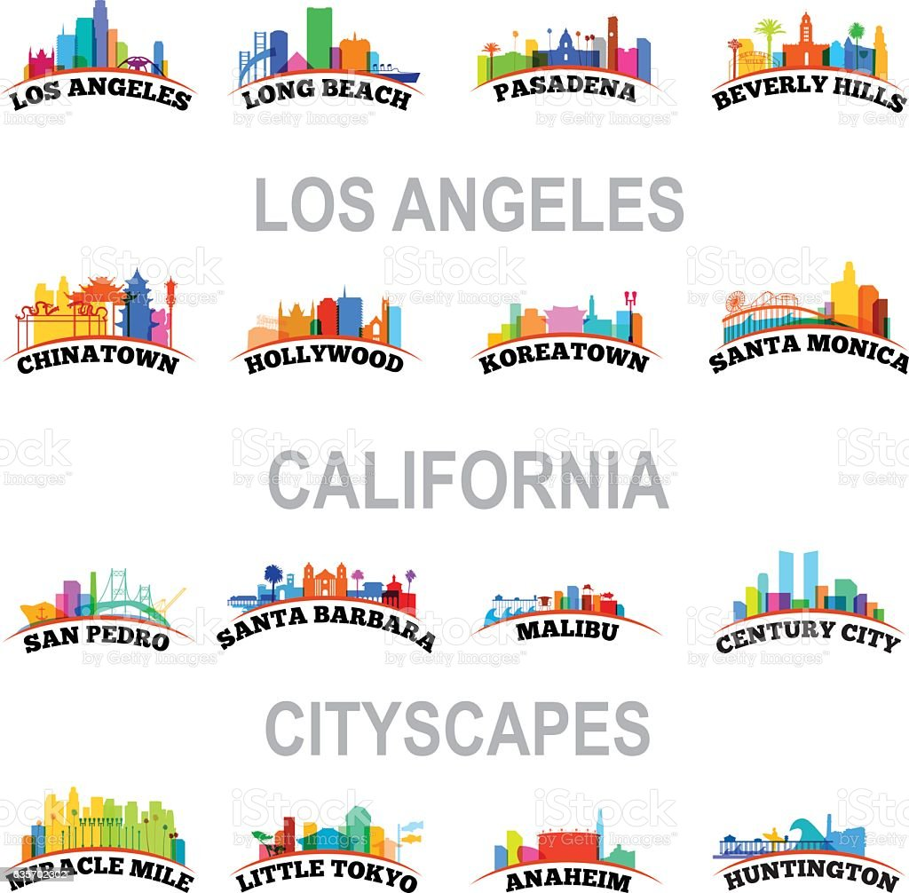 Los Angeles Cityscapes vector art illustration