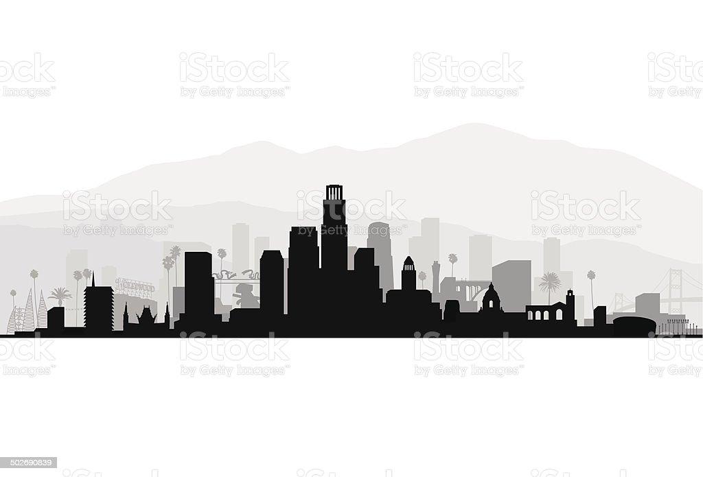 Los Angeles Detailed Cityscape vector art illustration