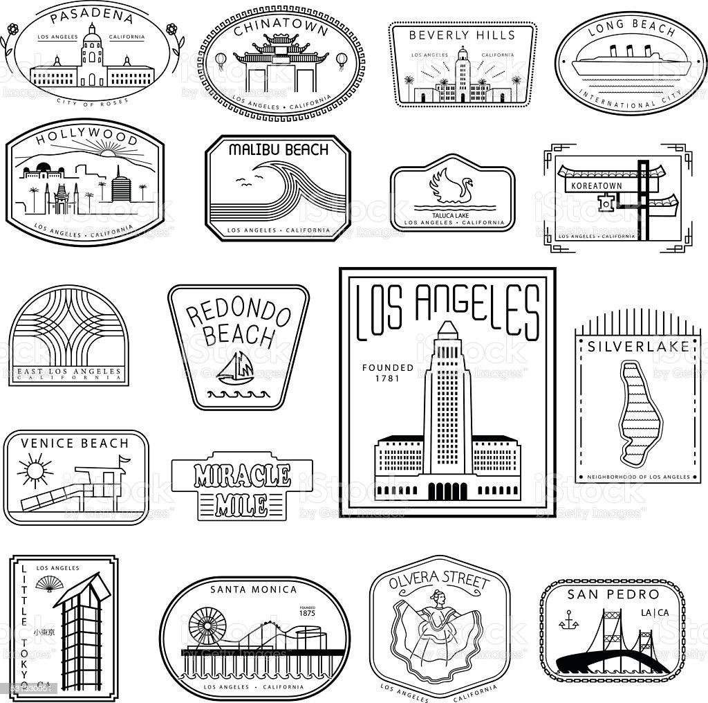 Los Angeles Hipster Graphics vector art illustration