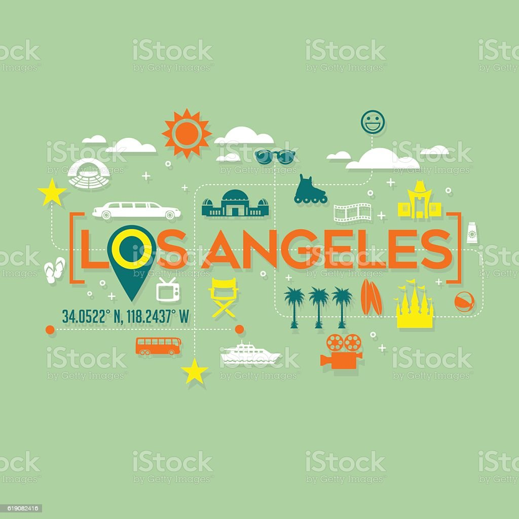 Los Angeles icons and typography design for cards, tshirts, posters vector art illustration