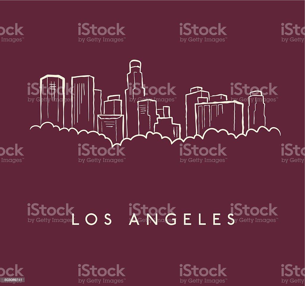 Los Angeles Skyline Sketch vector art illustration