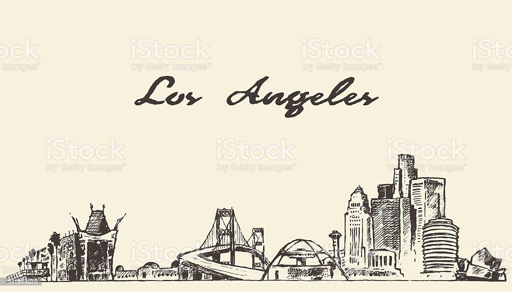 Los Angeles skyline vector hand drawn sketch vector art illustration