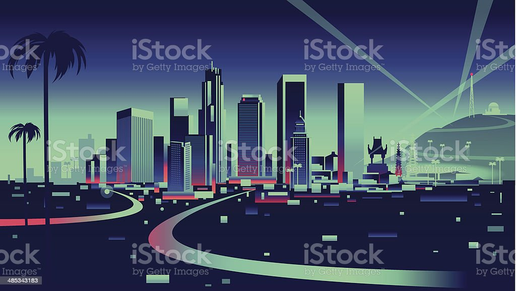 Los Angeles Skyline vector art illustration