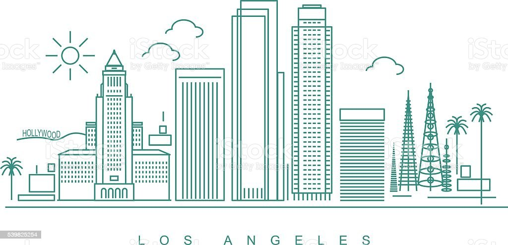 Los Angeles Skyline vector art illustration
