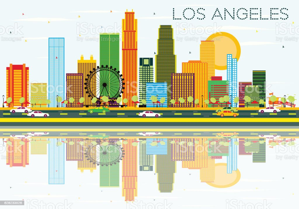 Los Angeles Skyline with Color Buildings, Blue Sky and Reflectio vector art illustration