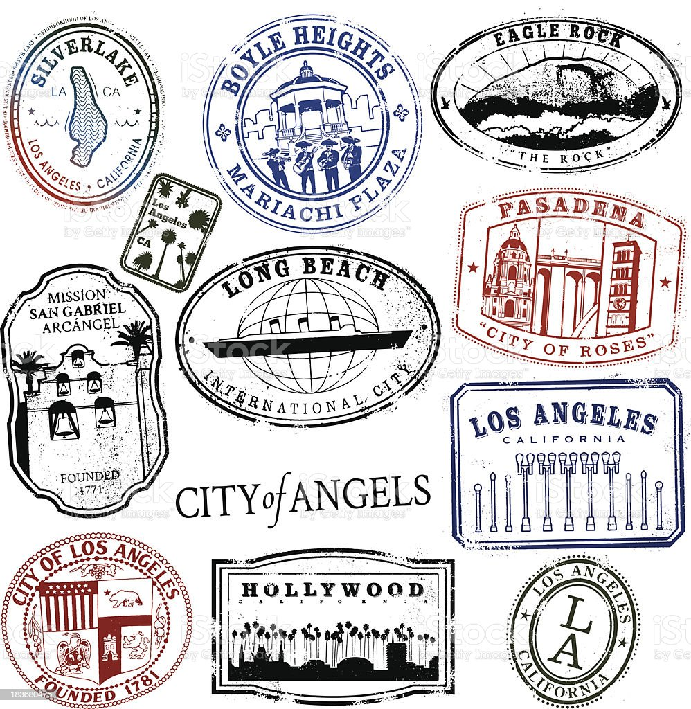 Los Angeles Stamp Series Vintage vector art illustration
