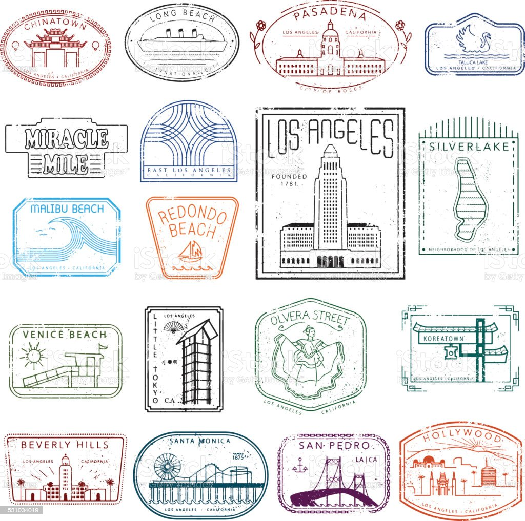 Los Angeles stamps of destinations vector art illustration
