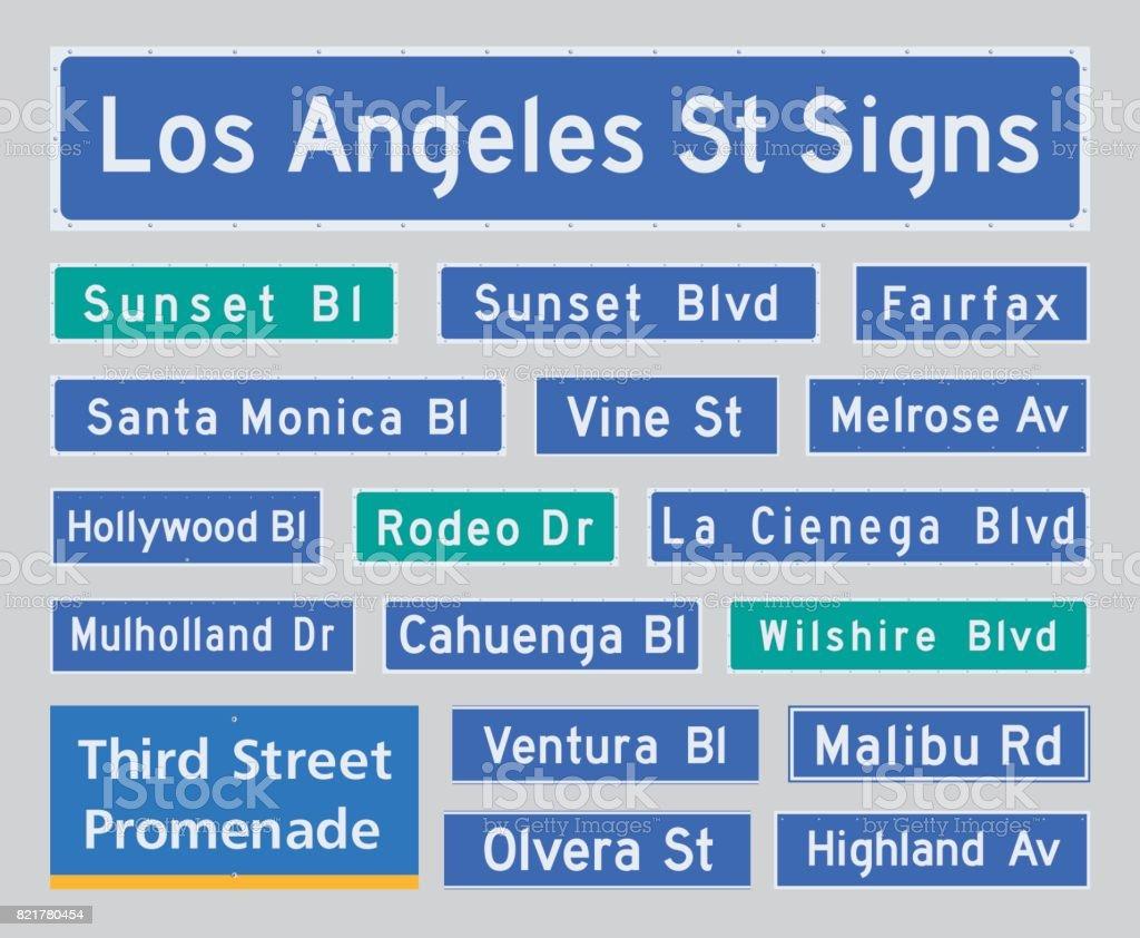 Los Angeles street plates vector art illustration