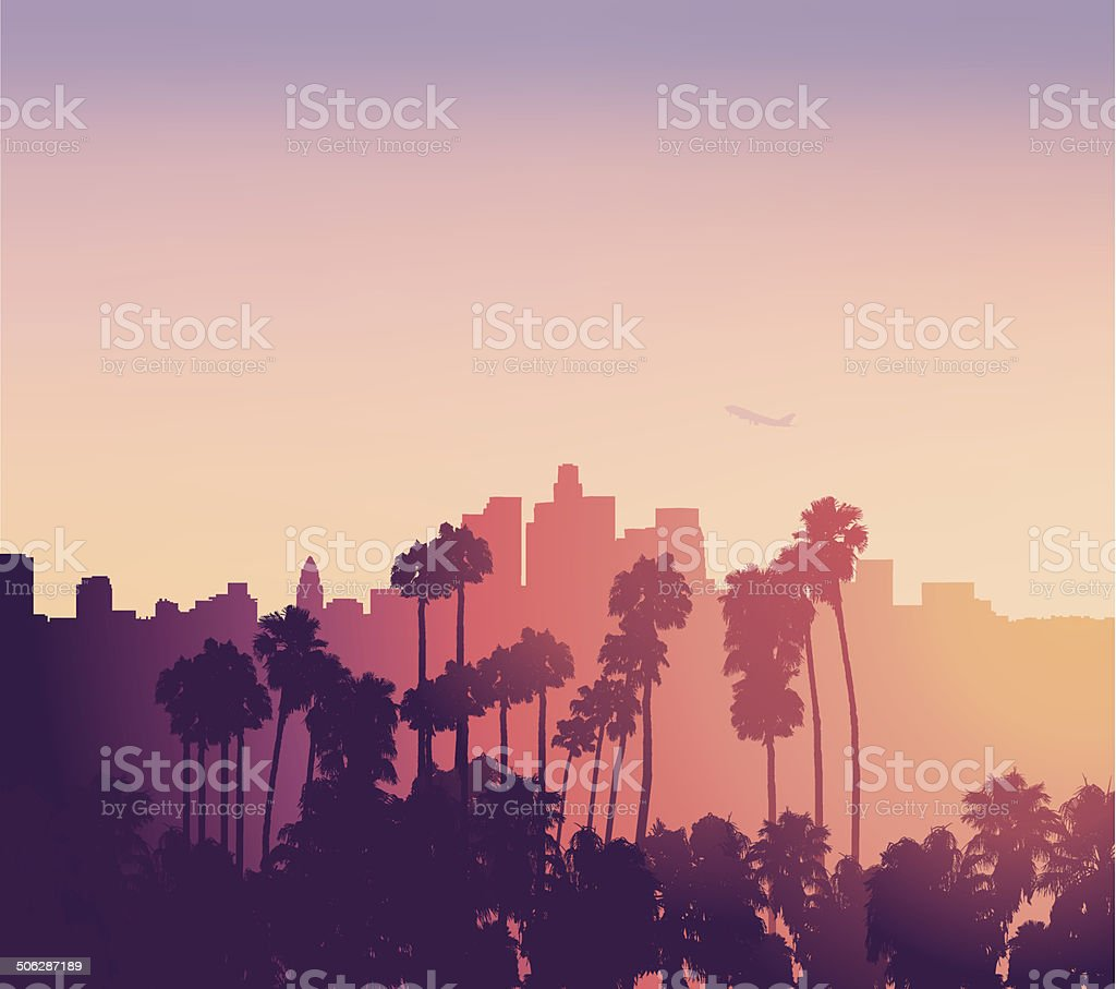 Los Angeles sunset scene with palm trees vector art illustration