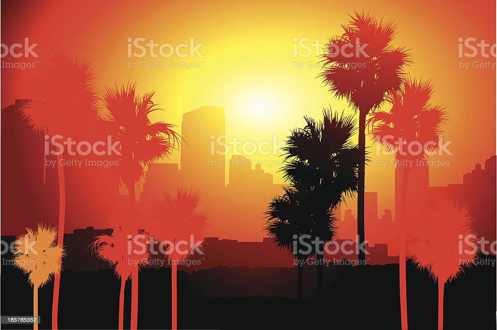 Los Angeles sunset vector art illustration