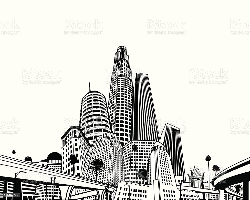 Los Angeles Super Megascape vector art illustration
