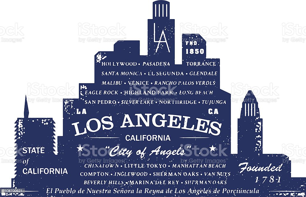 Los Angeles Typo Silhouette Stamp vector art illustration