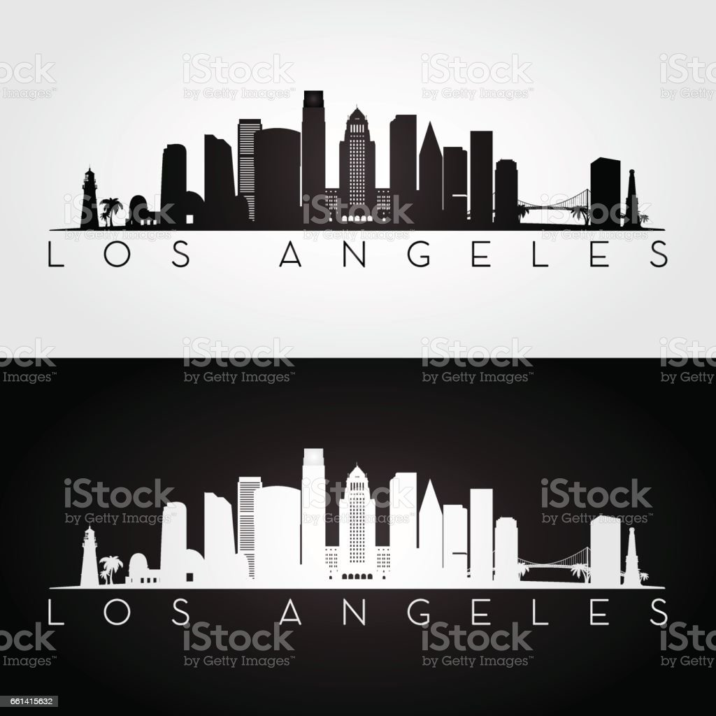 Los Angeles USA skyline and landmarks silhouette vector art illustration