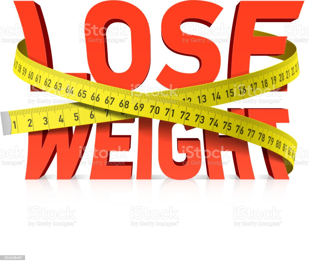 Lose weight word with measuring tape concept vector art illustration