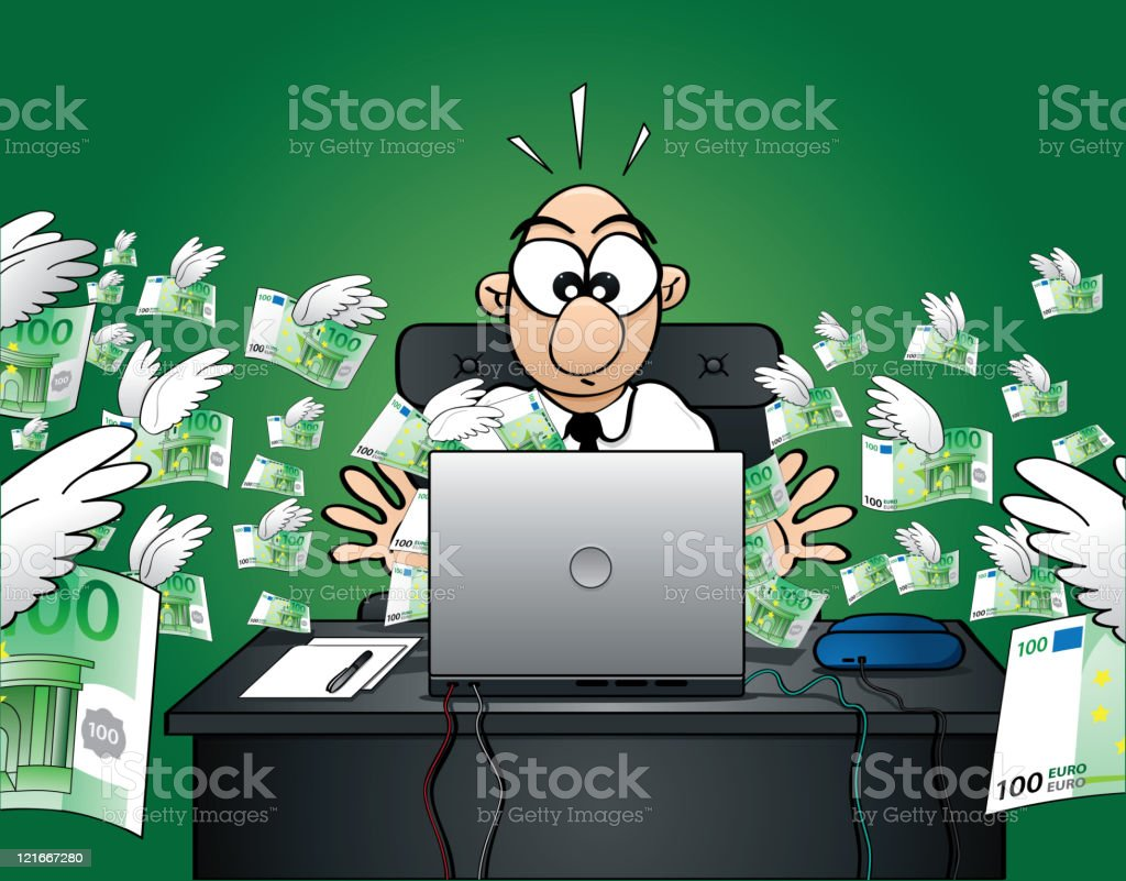 Losing money on the web - Euro Version royalty-free stock vector art