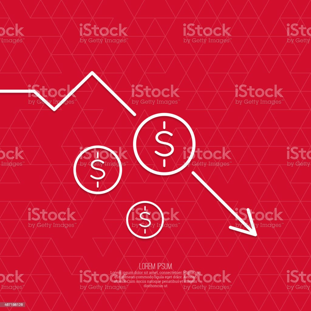 Loss of points Currency vector art illustration