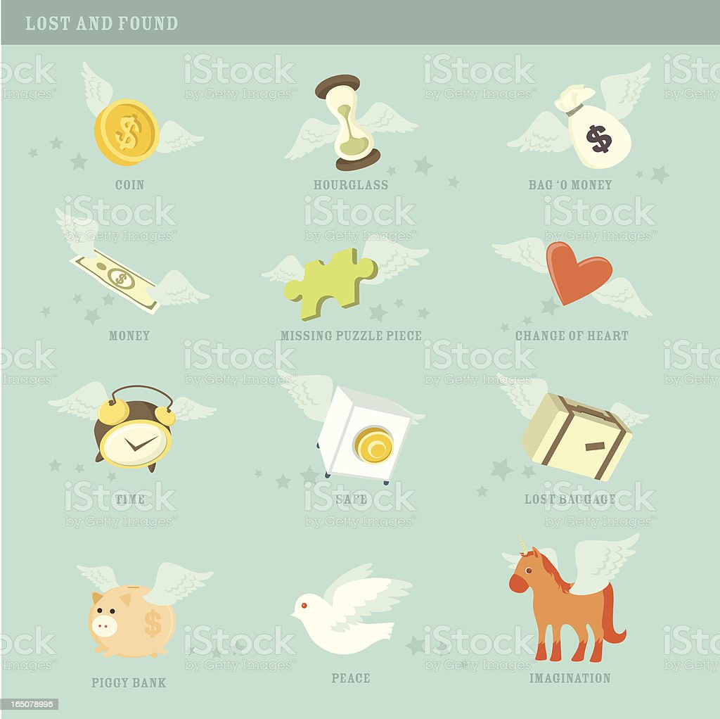 Lost and found icons vector art illustration