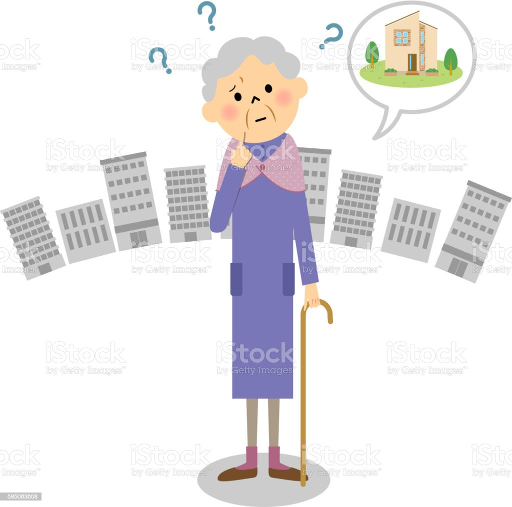 Lost grandmother vector art illustration