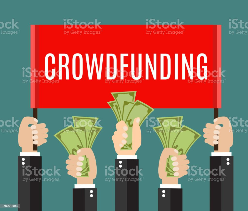 lot of hands hold a placard and money. vector art illustration